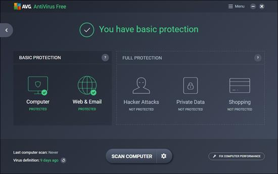Screenshot AVG AntiVirus Free