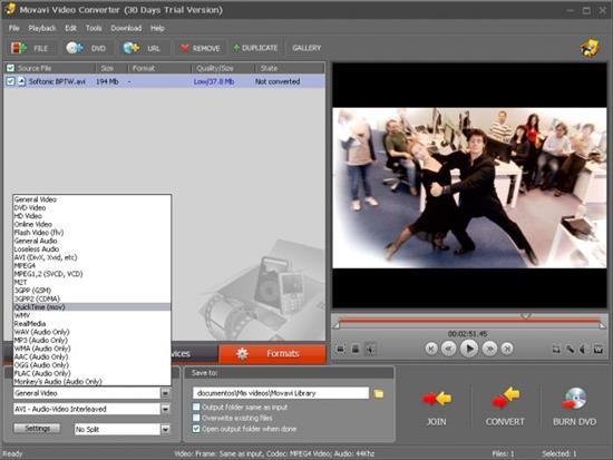 Screenshot Movavi Video Converter